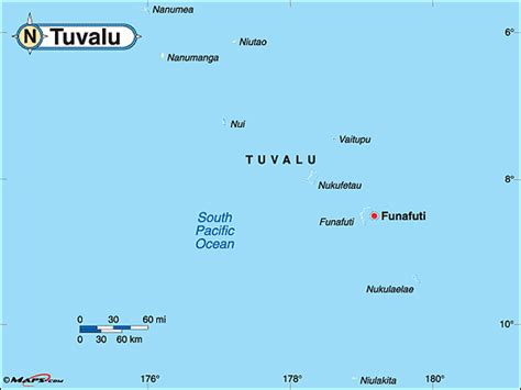 tuvalu on world map tuvalu political map by maps from maps worlds