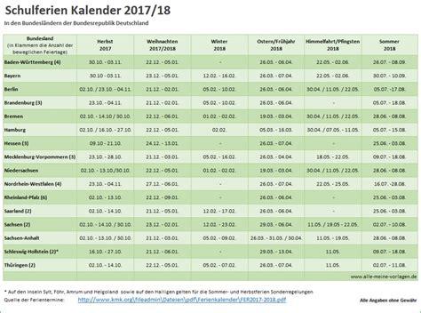 Kalender 2018 Sommerferien Schulferien Kalender 2017 2018 Alle Meine Vorlagen De