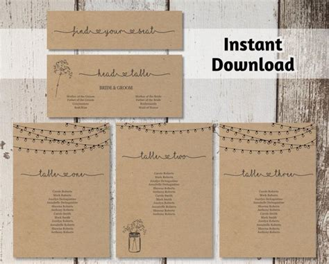 rustic themed wedding seating plan wedding seating chart printable template rustic