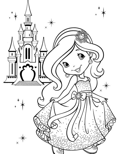 simple princess coloring page strawberry shortcake coloring page easy crochet stitch