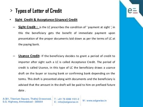 Letter Of Credit At Sight And Usance Letter Of Credit Lc Presentation
