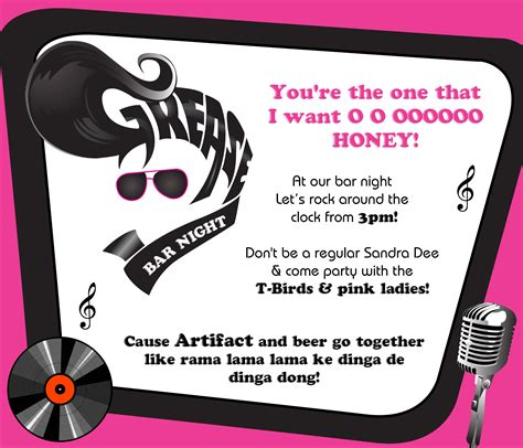 Grease Lightning Grease Pinterest Grease Party Birthday Invitations And Grease Themed Grease Invitation Template