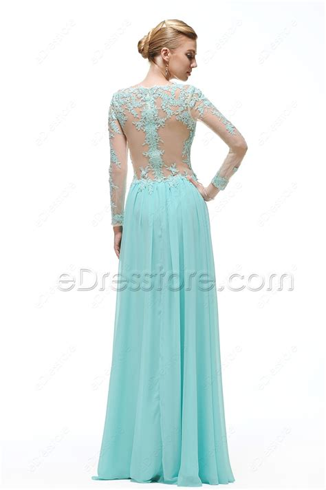 light blue lace dress with sleeves light blue backless lace modest prom dress with sleeves
