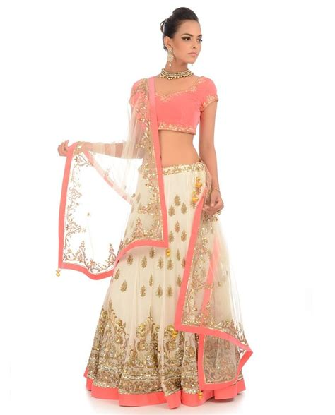 Nilam Set white lengha set with embellished motif exclusively in