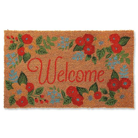 Flower Doormat - floral coir welcome doormat current catalog