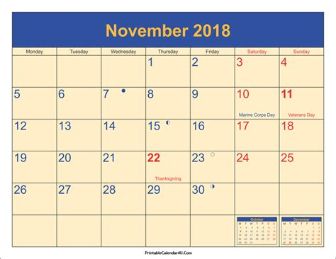 Calendar Nov 2018 November 2018 Calendar Printable With Holidays Pdf And Jpg