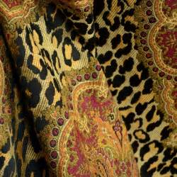 Am what i am black animal print damask fabric by the yard