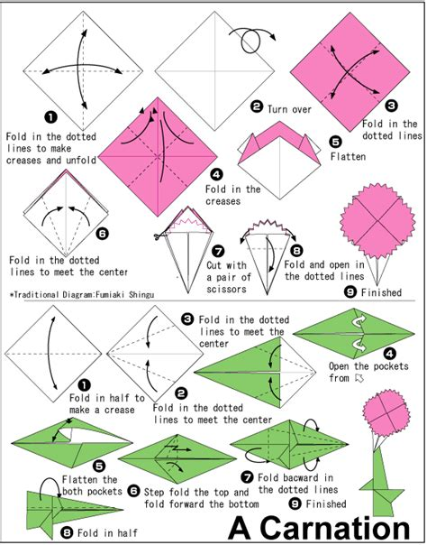 How To Make A Flower Origami Step By Step - carnation easy origami for