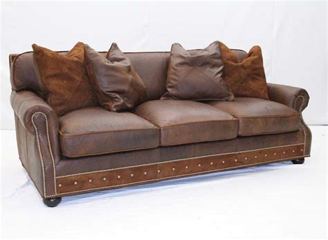 Hickory Tannery Leather Sofa by Desert Leather Sofa With Pillows Hickory Tannery