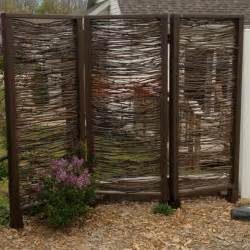 backyard screen outdoor privacy screen installed made with branches by my