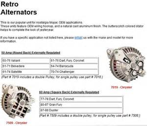 powermaster 50 60 amp mopar retro alternators