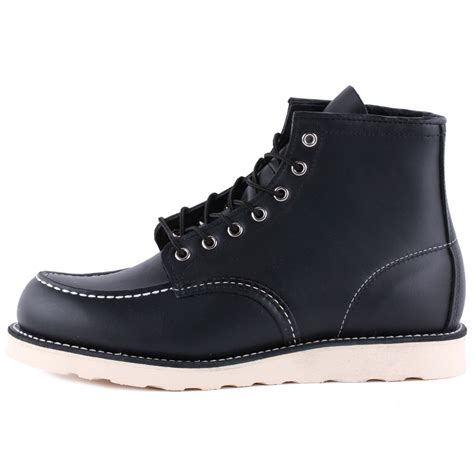 mens boots black wing 6 inch moc toe mens boots in black