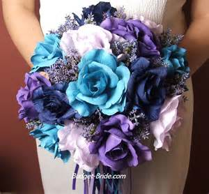 wedding bouquets by color turquoise and purple wedding flowers