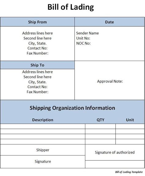 free bill of lading template bill of lading template word excel formats