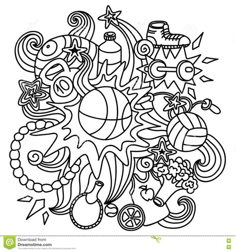doodle sports free vector the composition of the sports doodle elements stock vector