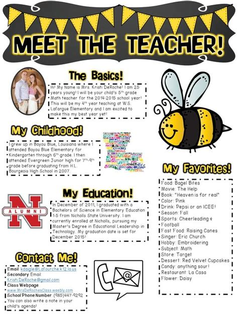 meet the letter template meet the teachers newsletter editable bee black and