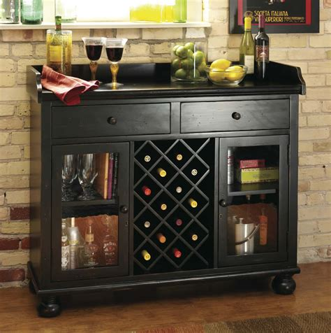 home bar and wine cabinets worn black wine bar console stemware glasses spirits