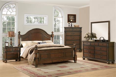 Traditional Bedroom Sets by Augusta Traditional Walnut Finish Bedroom Furniture Set