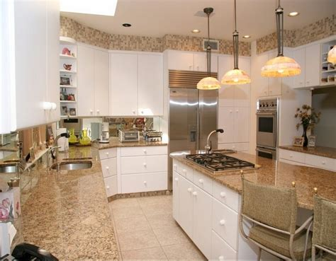 white cabinets with granite santa cecilia light granite to create and modern