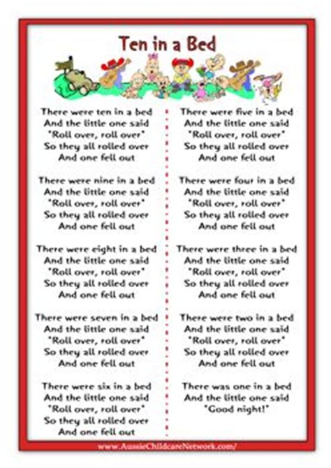 Ten In The Bed Lyrics by Ten In A Bed Rhymes Worksheets Nursery Rhymes