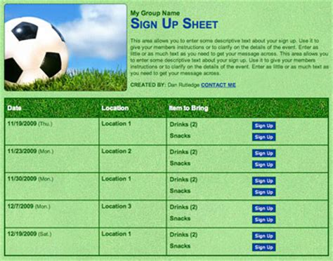 snack sign up template soccer or futball snack and volunteer scheduling sign up