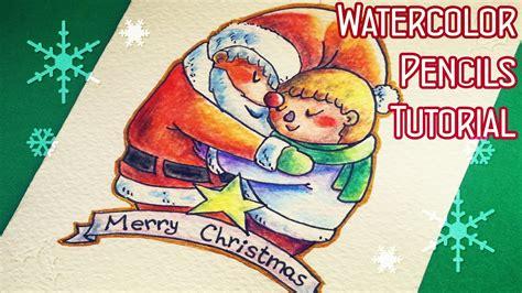 youtube watercolor christmas cards tutorials diy card with watercolor pencils drawing tutorial biglietto natalizio fai da te