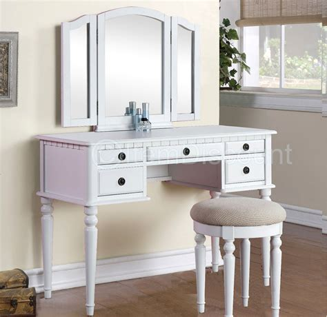 White Vanity Table Tri Fold White Vanity Makeup 3 Mirror Table Set Dresser Drawers Stool Bedroom Ebay