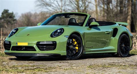 green porsche convertible porsche 911 turbo s cabriolet by edo competition is green