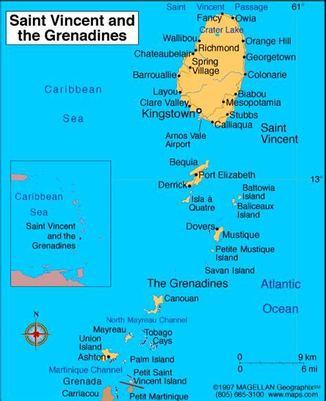 map st vincent and the grenadines st vincent und die grenadinen karte geschichte