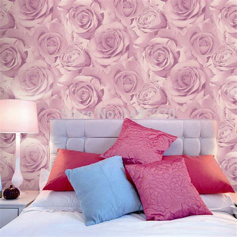 Classic fashion rose wallpaper bedroom background wedding house wallpapers purple pink roses