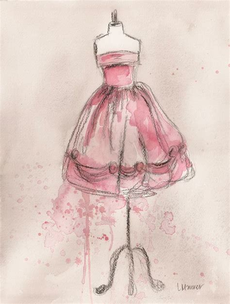 Pink Sketches by Vintage Dress Beautiful Paintings Drawing