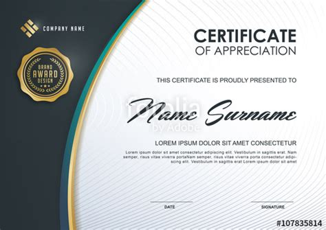 quot certificate template with luxury and modern pattern