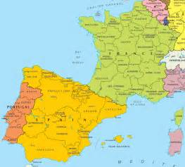 Spain On Map by Map Of Spain And France Free Printable Maps