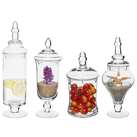 decorative apothecary jars mygift set of 4 clear glass apothecary jars wedding