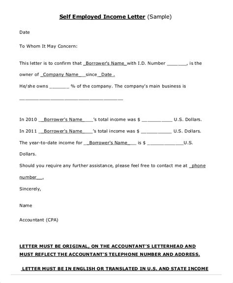 self certification letter income employment verification letter 8 free pdf documents