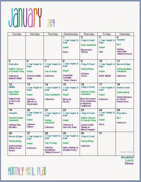 monthly meal planning ideas pinterest