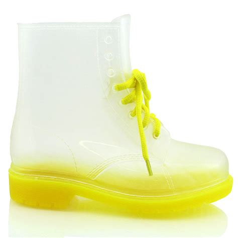 Jella Welly by Dm1 Flat Clear Jellie Jelly Wellies Low Ankle