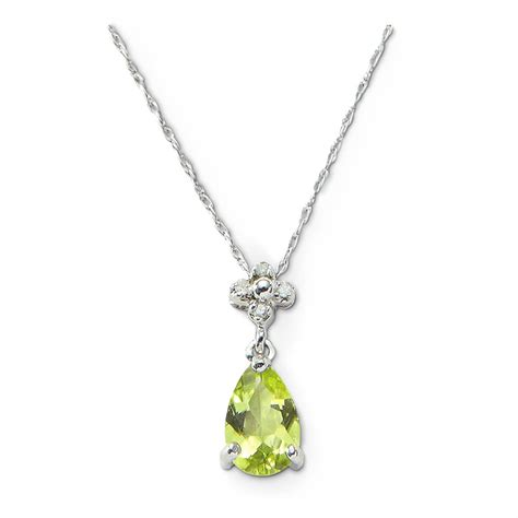 10k white gold peridot with diamonds necklace 614845
