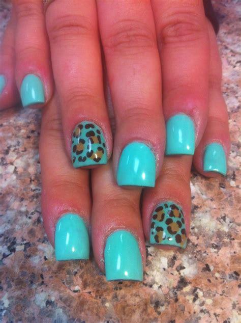 teal cheetah acrylic nails nail polish