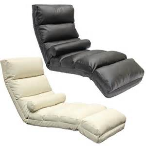 floor lounger chaise longue leather eff adjustable lounge