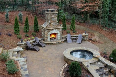 georgia backyard outdoor fireplace woodstock ga photo gallery