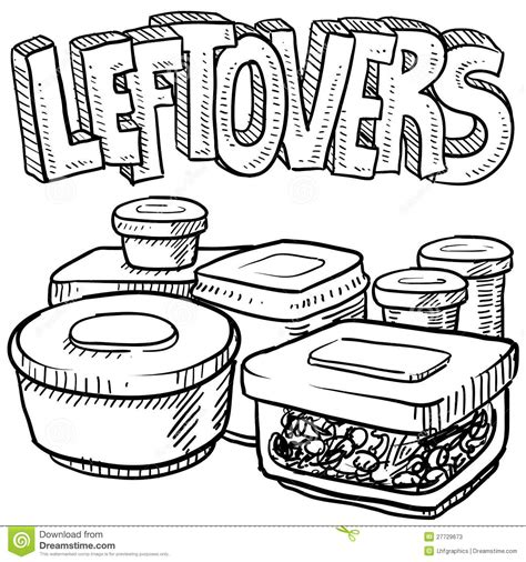sketchbook vector leftovers food vector sketch stock vector