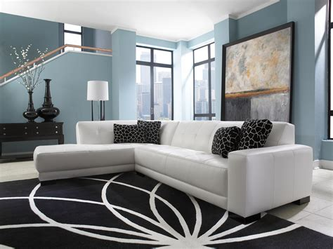 Living Room Black Leather Sofa Mid Century White Leather Tufted Sectional Chaise Lounge Sofa Bed In Living Room With Light Blue