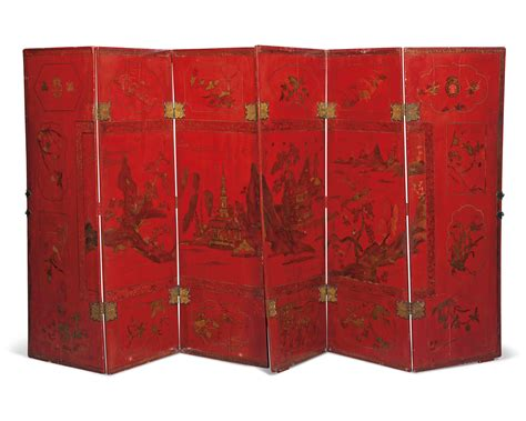 red or black lacquer gilt a chinoiserie red black and gilt lacquer six fold screen