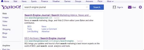Yahoo Email Search Engine Yahoo S Search Results Page Has Been Improved Search Engine Journal