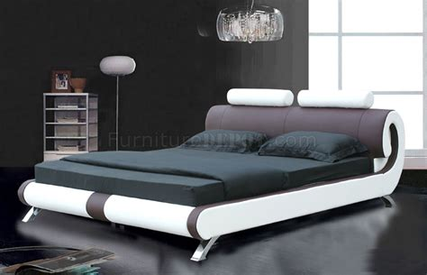 modern bed coffee brown white leatherette modern bed w curved headboard