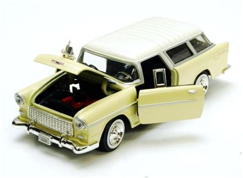 cars characters yellow 1955 chevy bel air nomad hard top scale 1 24 showcasts