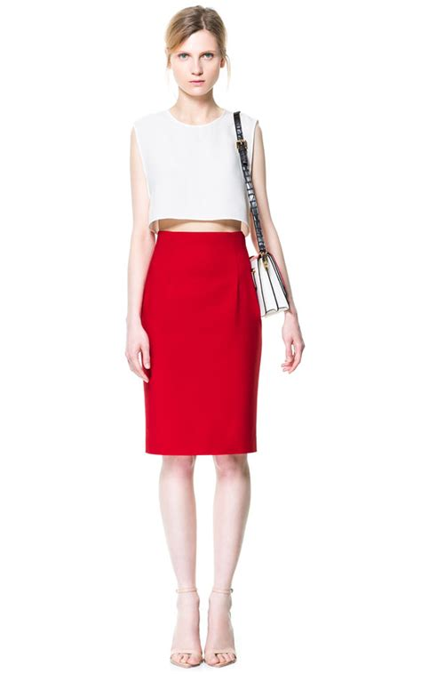zara high waisted pencil skirt in lyst