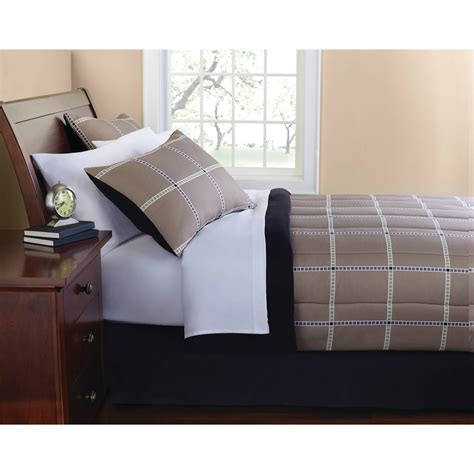 mainstays bedding set mainstays plaid bed in a bag complete bedding set