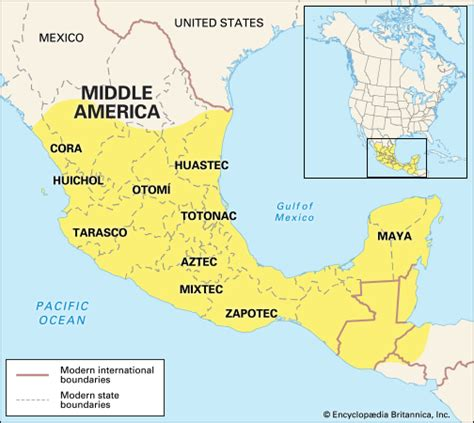 middle america map middle american indians location encyclopedia children s homework help